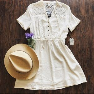 Cream Crochet Boho Dress